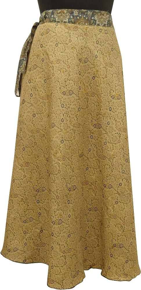 sheshe Seda Pura impresión Reversible Magia Wrap Hippie Falda Sari ...