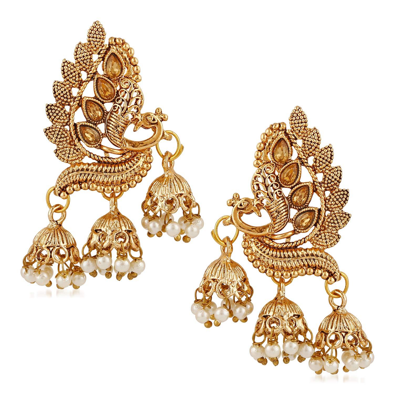 1246b30a0d06 Buy Meenaz Wedding Bridal Gold Pearl Peacock Kundan Jhumka Jhumki Earrings  For Women Girls - jhumki earrings-373 Online at Low Prices in India