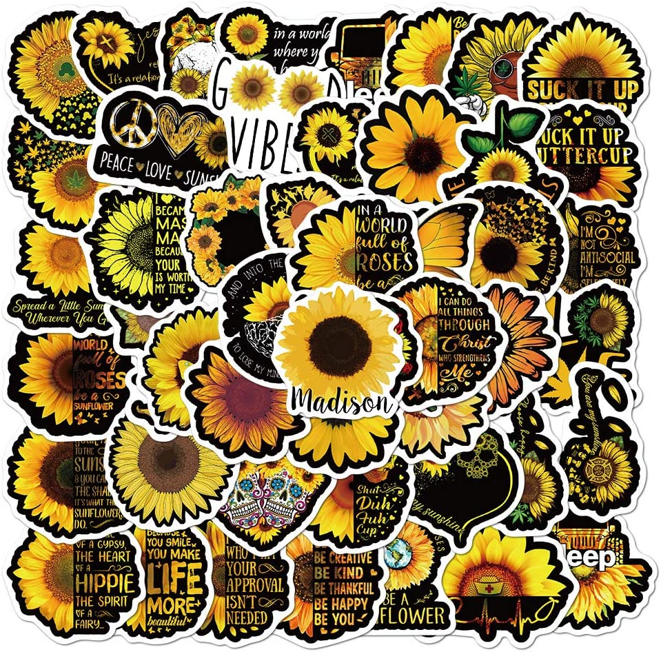 MEJULY 50PCS Sunflower Stickers for Water Bottles Laptop HydroFlasks Aesthetic Big Size Decals for Mac Computer Phone Guitar Skateboard