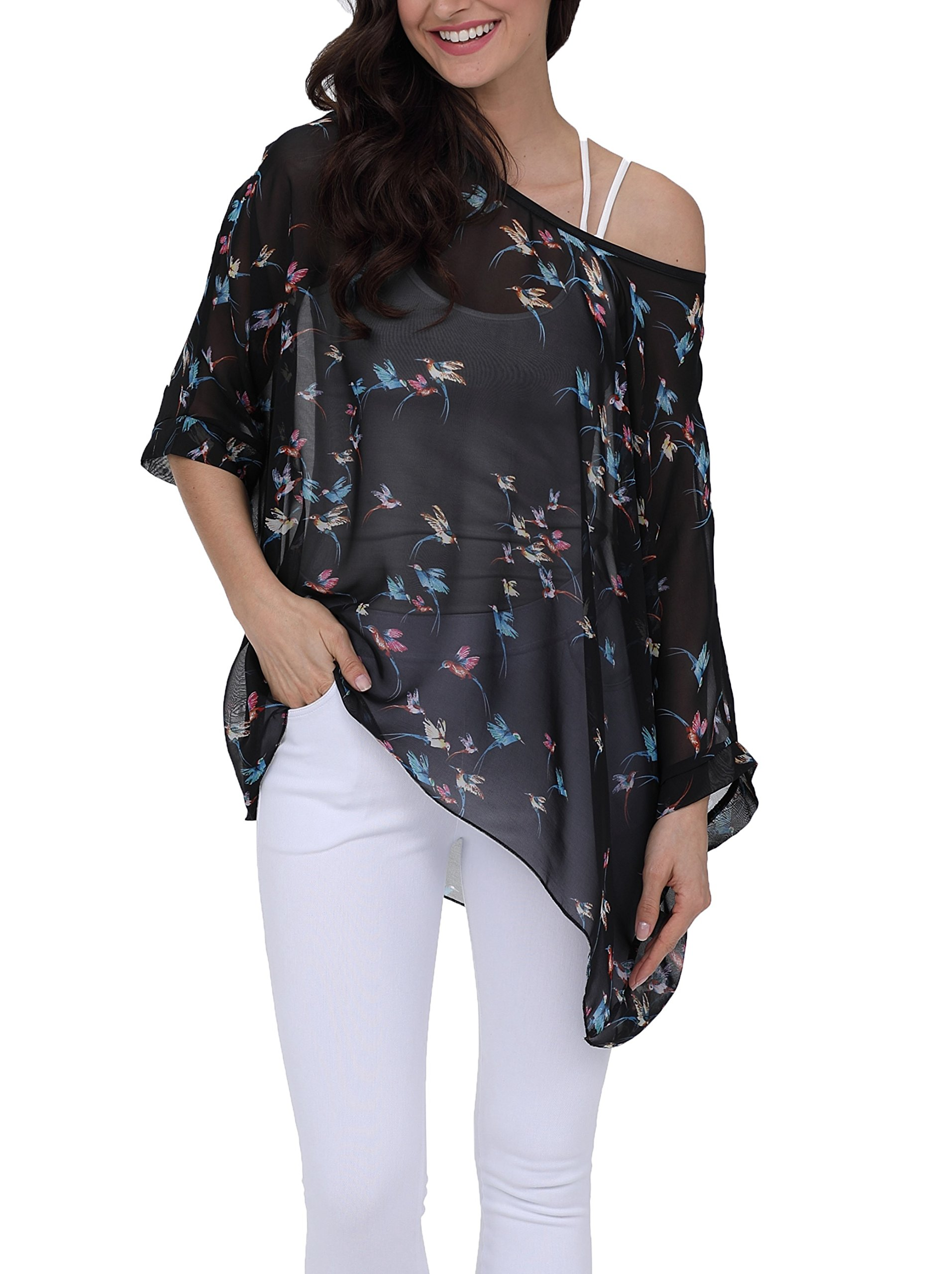 iNewbetter Womens Floral Batwing Sleeve Chiffon Beach Loose Blouse Tunic Tops PB299