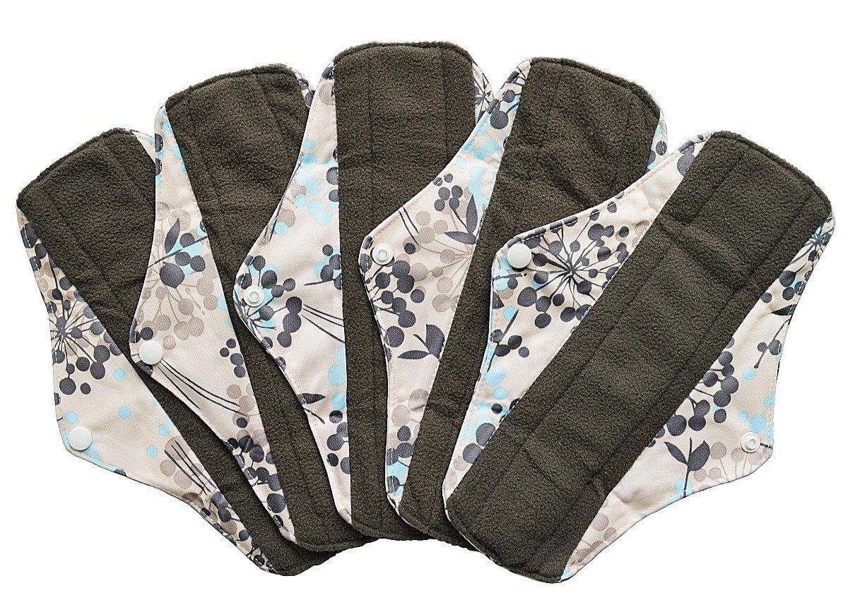 5 Pieces Charcoal Bamboo Mama Cloth/ Menstrual Pads/ Reusable Sanitary Pads (Regular (10 inch), Silver)