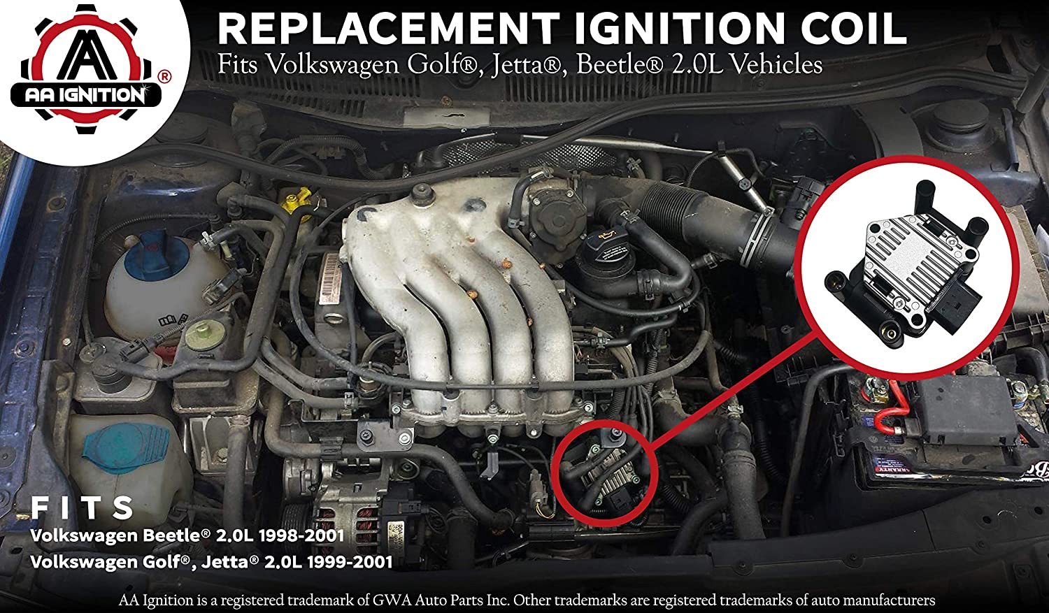 Amazon.com: Ignition Coil Pack - Fits 1999, 2000, 2001 Volkswagen Golf, Jetta, Beetle 2.0L - Replaces Part# 032905106E, 032905106B, 032 905 106B - Coil Pack ...