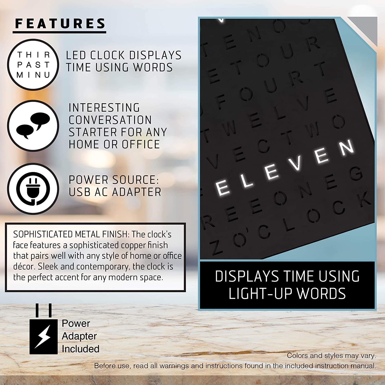 Sharper Image Light Up Electronic Word Clock Matte Black Finish With Led Light Display Usb Cord And Power Adapter 7 75in Square Face Unique