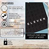 Sharper Image Light Up Electronic Word Clock, Matte Black Finish with LED Light Display, USB Cord and Power Adapter, 7.75in Square Face, Unique Contemporary Home and Office DÈcor