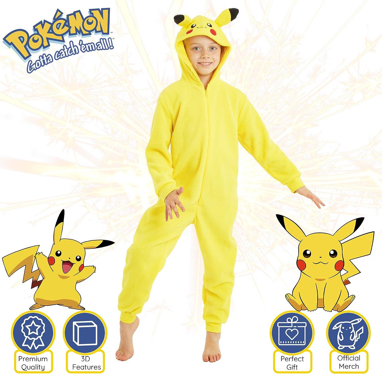 Costume Anime Go Pikachu Super Soft Onesies Sleepwear for Kids Animal Cosplay Hoodie Onesie Pokemon Pikachu Onesie Girls Boys Pyjamas Official Gift for Boys Girls