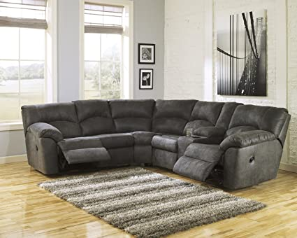 Amazoncom Ashley Tambo 2 Piece Sectional In Pewter Kitchen Dining