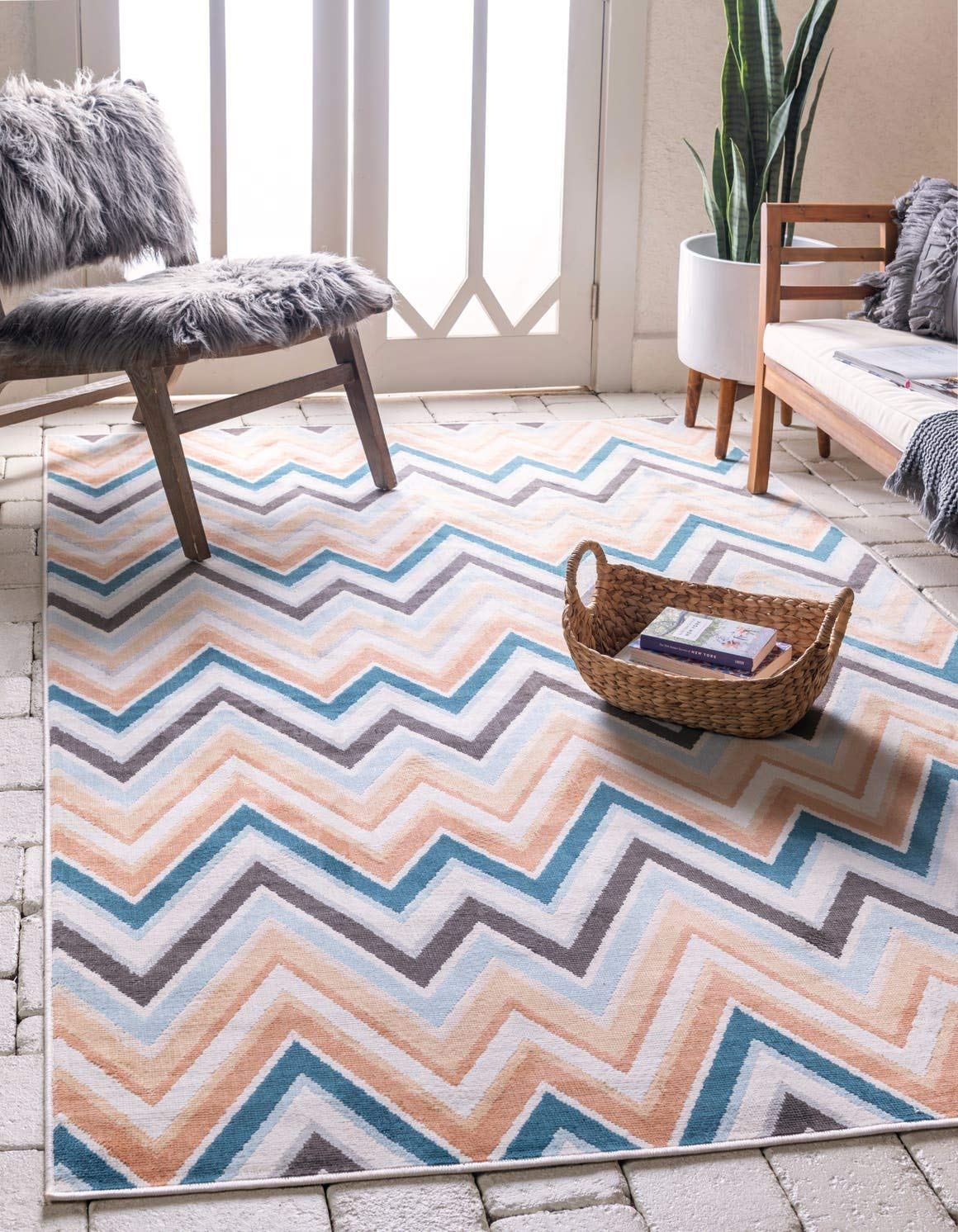 Unique Loom Outdoor Oasis Collection Casual Chevron Transitional Indoor and Outdoor Flatweave Multi Area Rug 4 0 x 6 0