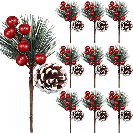 Amazon Com Artificial Pine Pick Artificial Pine Tree Decorations Fake Pinecone Red Berries Branches For Christmas Flower Arrangements Wreaths And Holiday Decorations 10 Pieces Arts Crafts Sewing