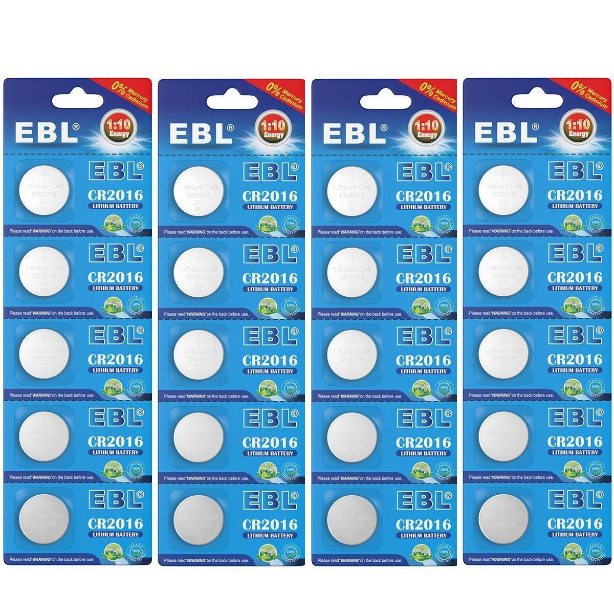 EBL 20 Piezas CR2016 / 2016 / DL2016 / ECR2016 3V Litio Pila (20 Unidades)