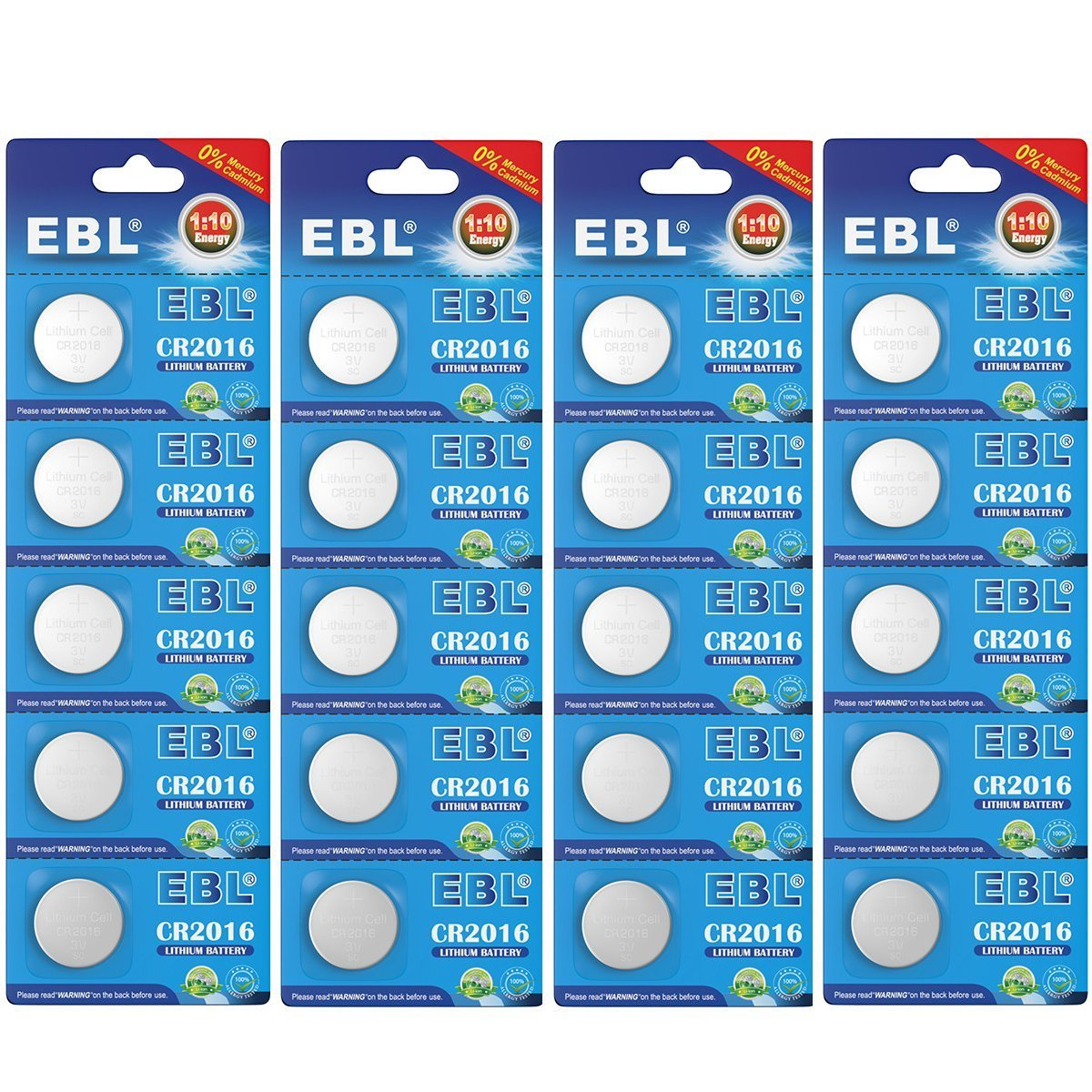 EBL CR2016 Tipo de 2016 / DL2016 / ECR2016 3V Litio Moneda Botón Celula de la Bateria para Reloj, Juguetes Electrónicos (20 Unidades)