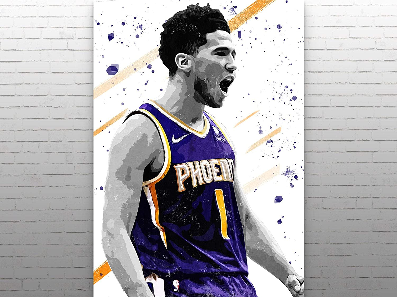 Devin Booker Poster Print, Phoenix Suns Poster, Basketball Wall Art, Basketball Decor, NBA Poster, Watercolor Print, Man Cave Gifts
