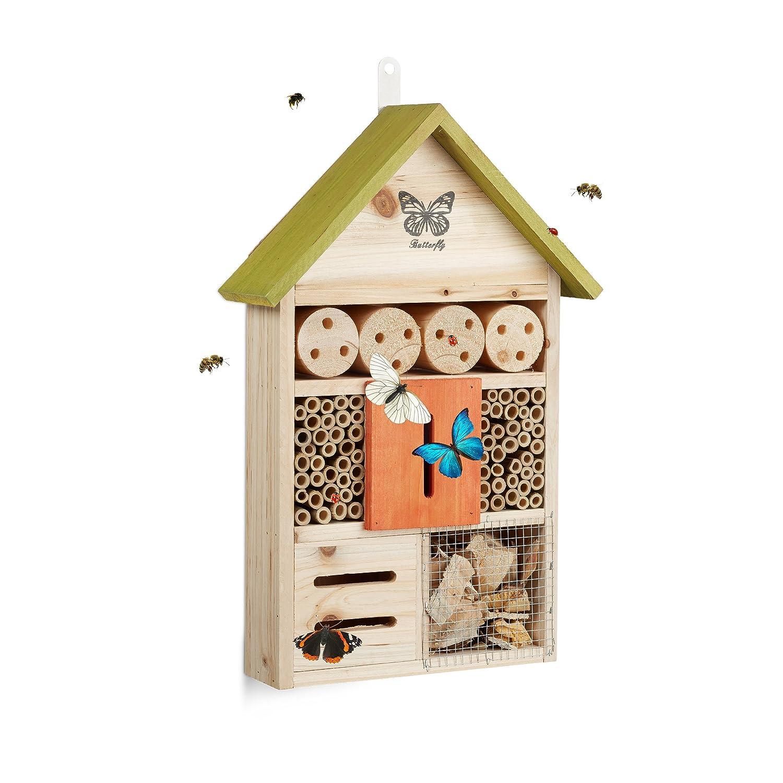 Relaxdays Hôtel à Insectes Papillon Coccinelle Abeille Jardin Balcon à Suspendre HxlxP: 41,5 x 27,5 x 8,5 cm, Orange 10020738_57
