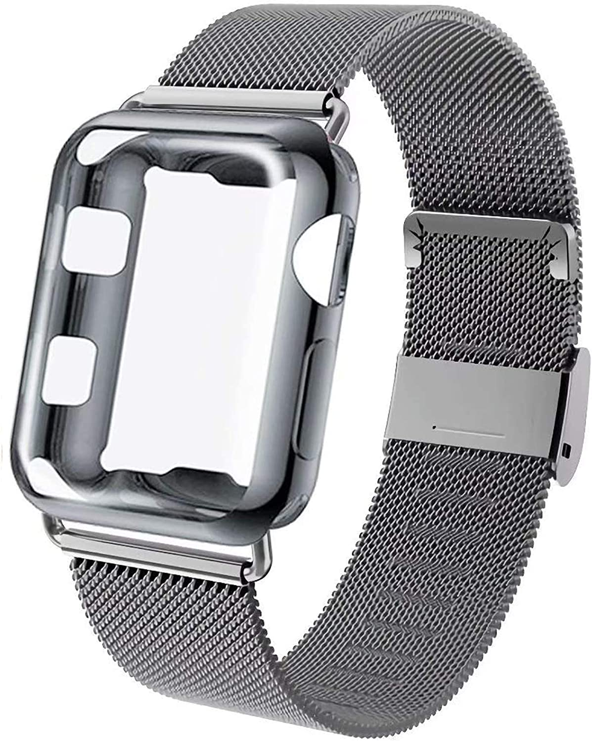 GBPOOT Compatible for Apple Watch Band 38mm 40mm 42mm 44mm with Screen Protector Case, Sports Wristband Strap Replacement Band with Protective Case for Iwatch Series 6/SE/5/4/3/2/1,40mm,Space Gray