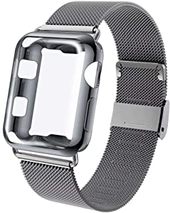 GBPOOT Compatible for Apple Watch Band 38mm 40mm 42mm 44mm with Screen Protector Case, Sports Wristband Strap Replacement Band with Protective Case for Iwatch Series 6/SE/5/4/3/2/1,38mm,Space Gray