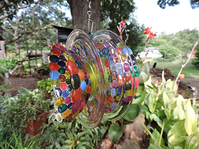 Hand Painted Glass Flower Spinner   An Original Concept     Suncatcher    Yard Art