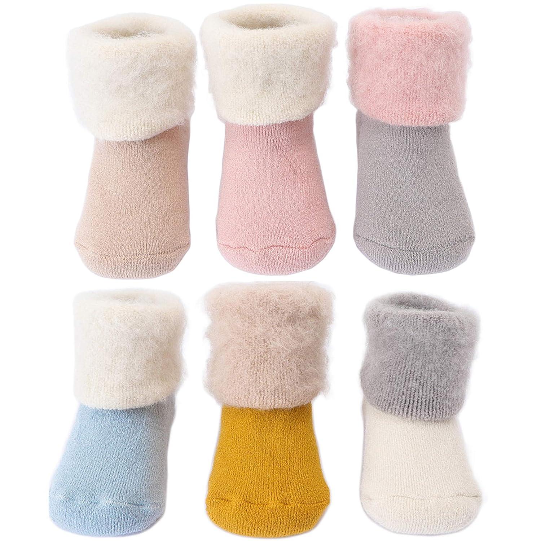 Salamola Babys Cozy Toddler Infant Socks Striped Cotton Socks 3 Pairs