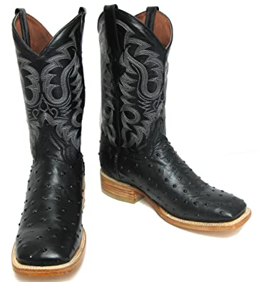 af27add605c Hand Made Men's Crocodile Ostrich Quill Leather Cowboy Western Square Toe  Boots Black
