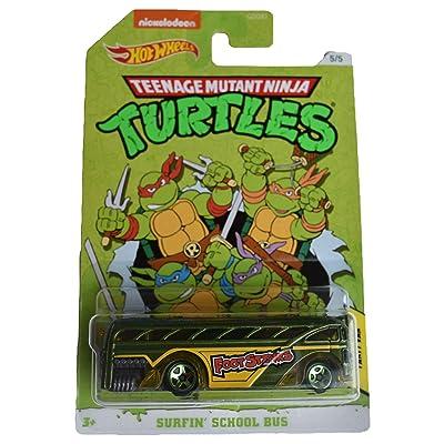 Hot Wheels TMNT Party Van Surfin School Bus 5/5, Green: Toys & Games