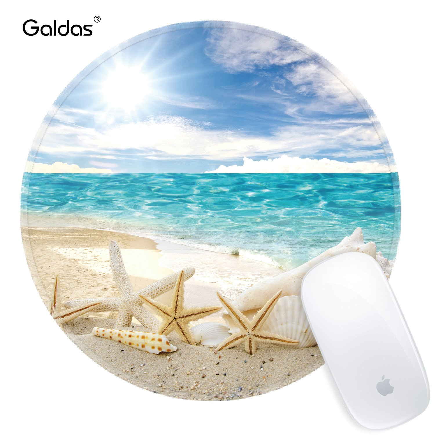 Mouse Pad Galdas Sunshine Beach Seascape and Starfish Mousepad Custom Design Blue White Gaming Mouse Pad Round Mouse Pads for Computers& Laptop (Updated Version)