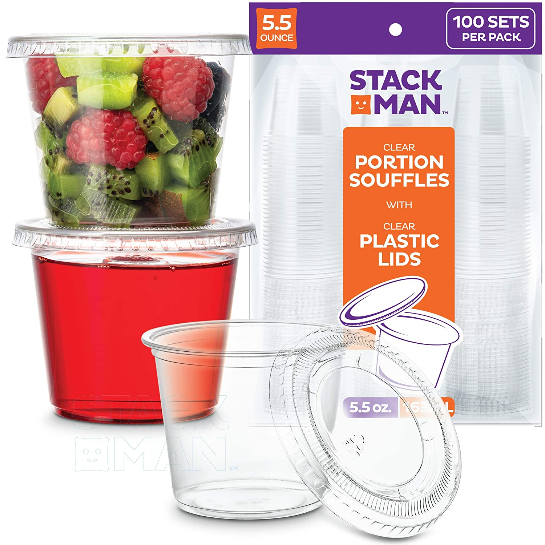 Souffle Cups Plastic Disposable Portion Cups With Lids Co 100 Sets - 5.5 oz.