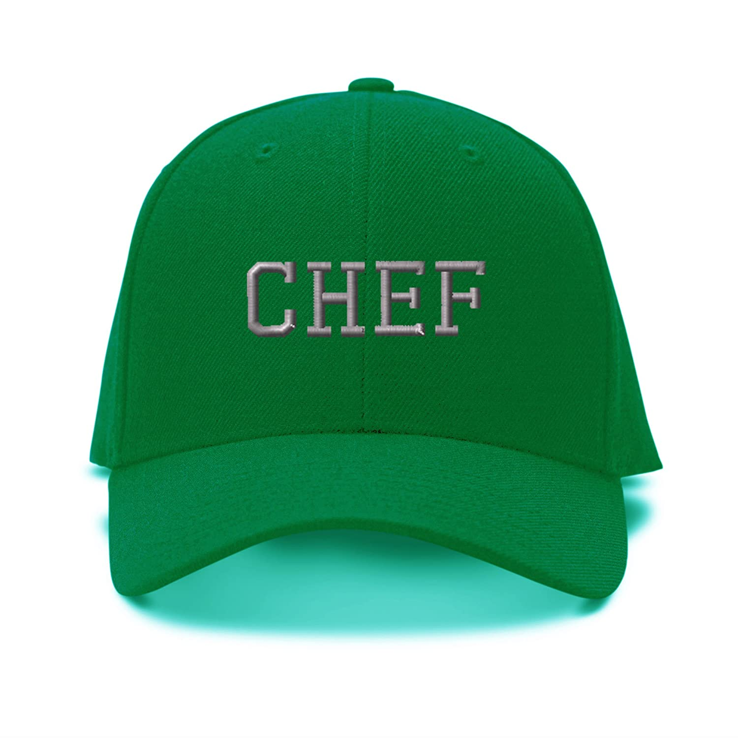 Amazon.com  Silver Letters Chef Embroidery Adjustable Structured Baseball  Hat Kelly Green  Clothing 49d1d9a07c1