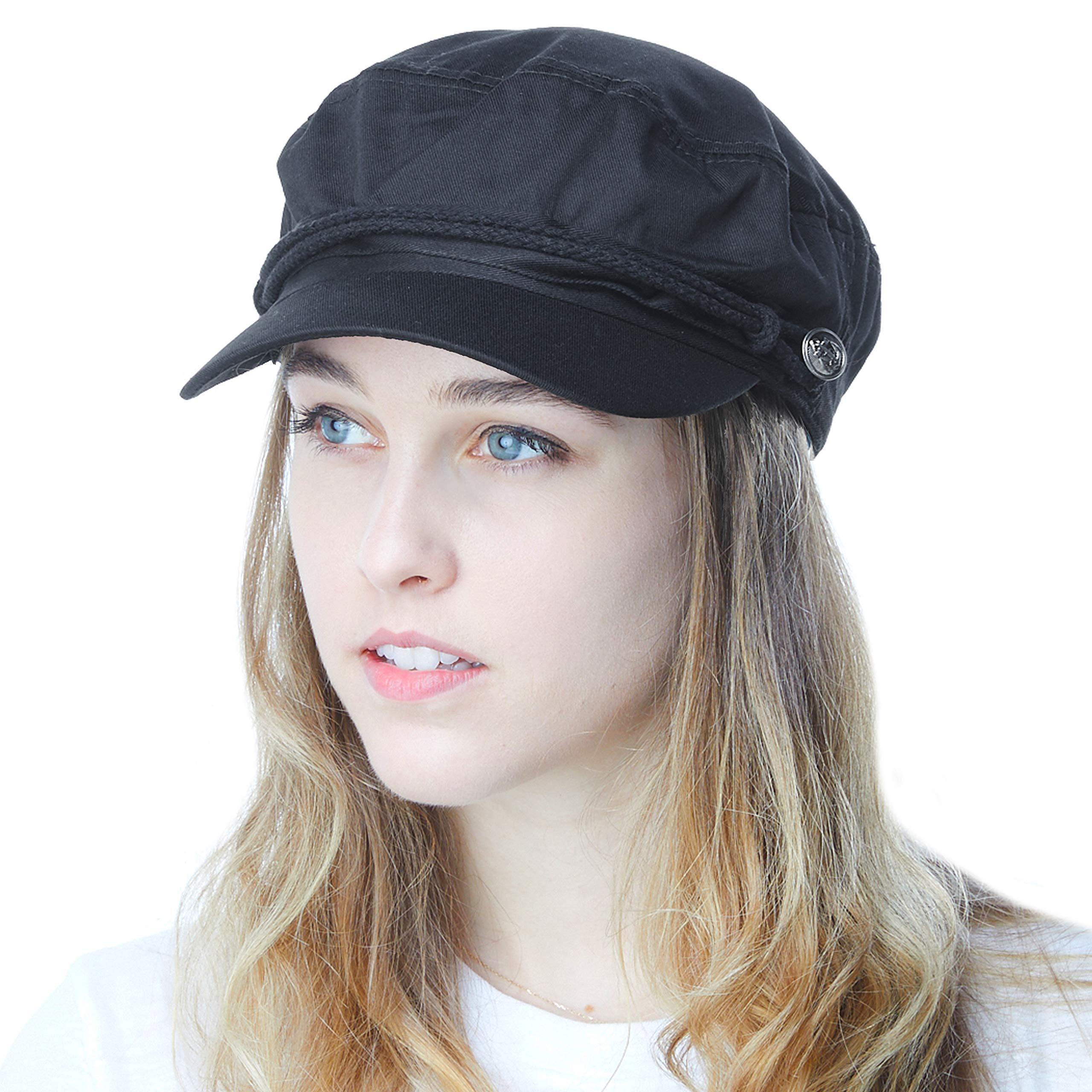 fd509a5c1e22a THE HAT DEPOT Black Horn Unisex Cotton Greek Fisherman s Cap (L XL ...