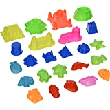 Sand Molding Toy Set. 24 pieces Small Kids Brookstone Arena Deluxe Sculpture Lot. Compatible with Sand, Moon Sand, Any Molding Arena