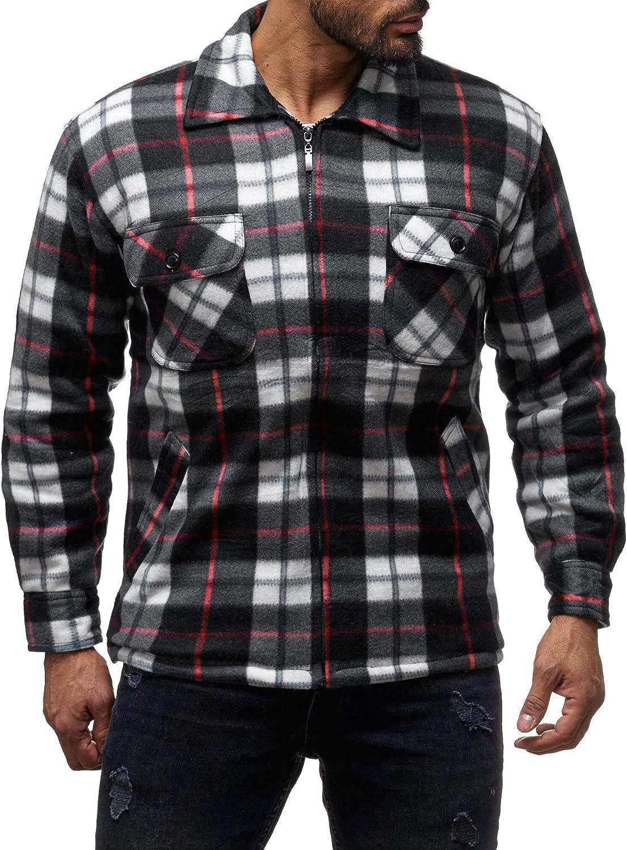 EGOMAXX Camisa t/érmica para Hombres Transici/ón Chaqueta Le/ñador A Cuadros Fleece Franela