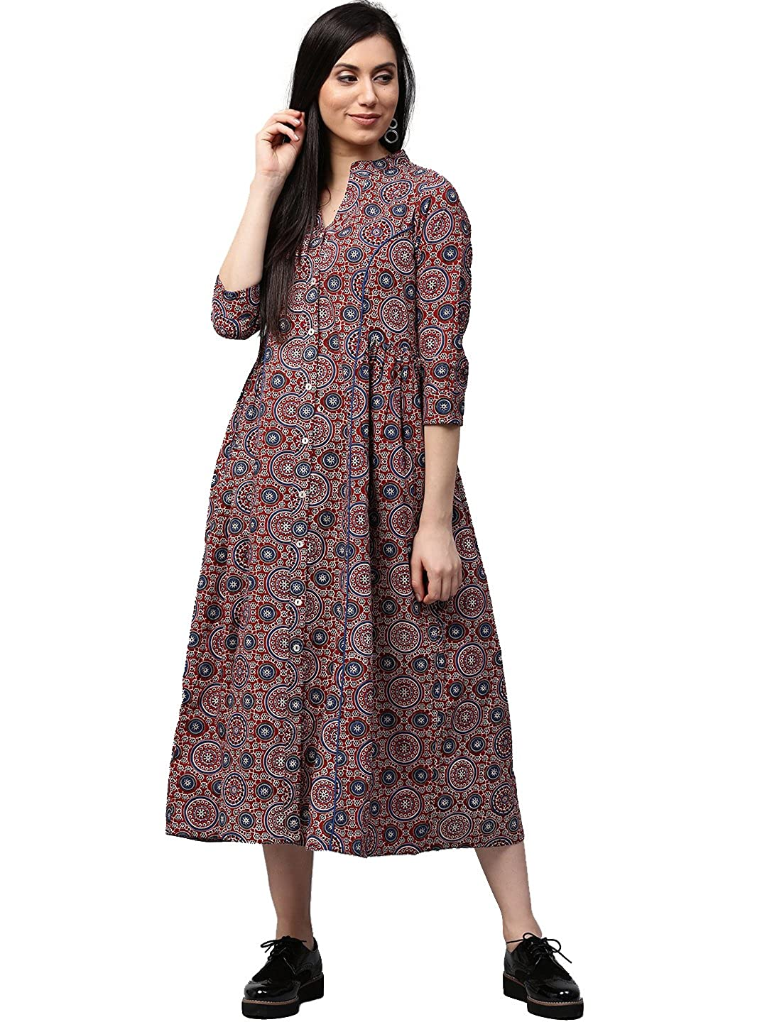 Jaipur Kurti Women Maroon Geometrical Print A-line 48 Length Cotton Dress Nandani Creation Ltd.