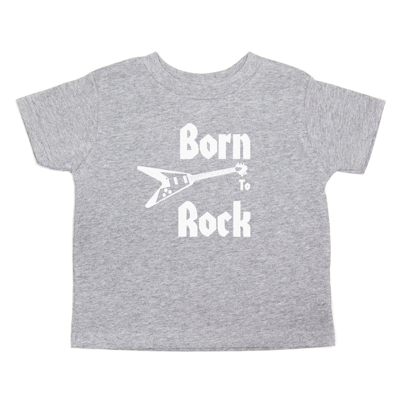 Born to Rock Band-Guitar Rockstar Kids Toddler Short Sleeve T-Shirt