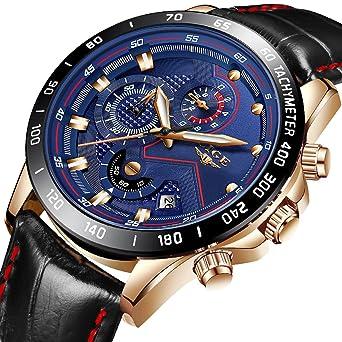 Reloj Deportivo para Hombre Reloj de Cuarzo analógico Impermeable Marca de Lujo LIGE Cronógrafo de Cuero de Moda Azul Militar Fecha Reloj Hombre: Amazon.es: ...