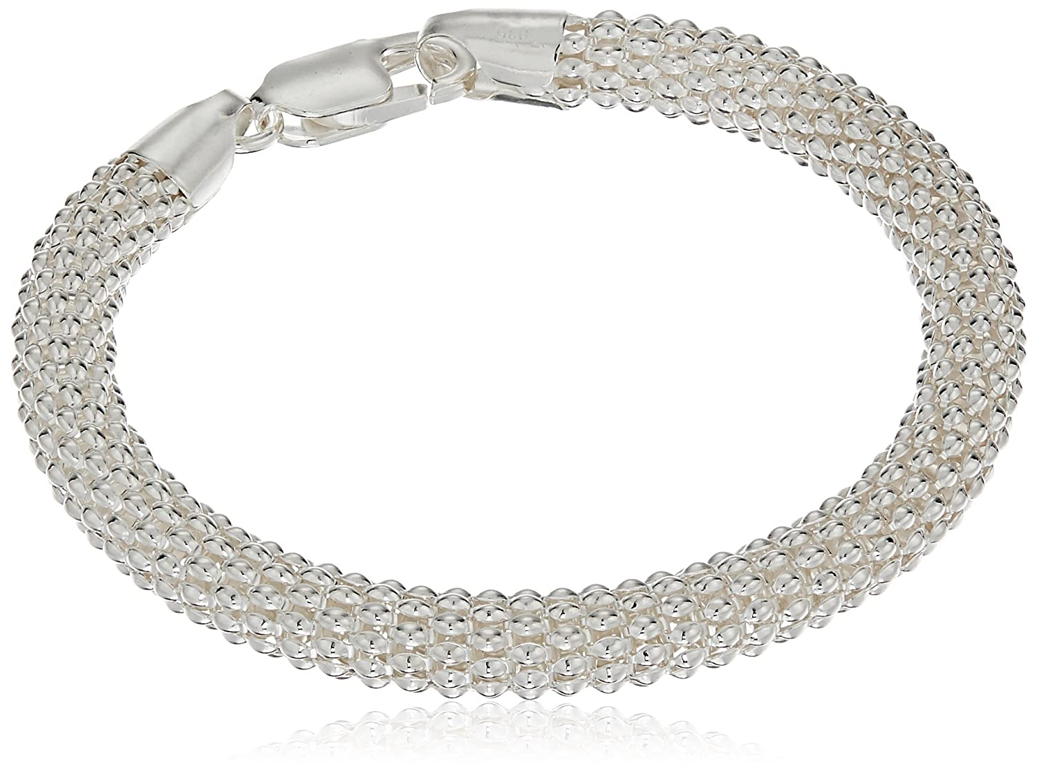Sterling Silver Large Round Mesh Bead Bracelet, 7.5 7.5 Amazon Collection S12807-7.5A