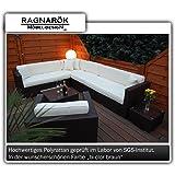 PolyRattan Lounge DEUTSCHE MARKE -- EIGNENE PRODUKTION 7 Jahre GARANTIE Garten Möbel incl. Glas und Polster Ragnarök-Möbeldesign braun Gartenmöbel