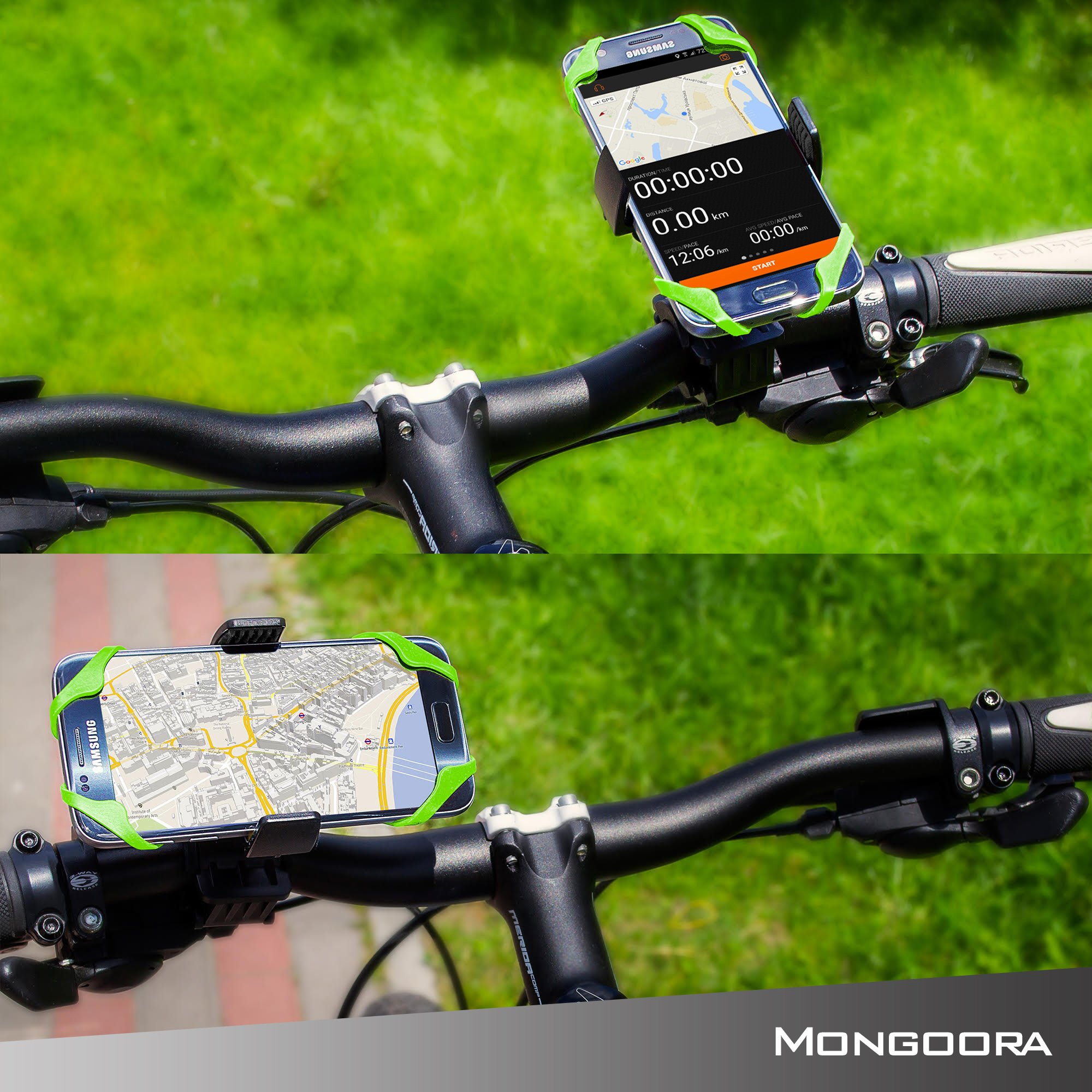 Bike Phone Mount for any Smart Phone: iPhone X 8 7 6 5 plus Samsung Galaxy S9 S8 S7 S7 S6 S5 S4 Edge, Nexus, Nokia, LG. Motorcycle, Bicycle Phone Mount. Mountain Bike Mount. Bike Accessories. by Mongoora (Image #2)