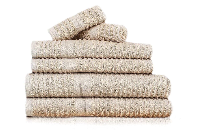 restmor Set de 6 Toallas 100% Algodón de 550g/m2 - Diseño Brooklyn Acanalado Jacquard - Plata: Amazon.es: Hogar