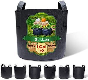 Gardzen 6-Pack 1 Gallon Grow Bags, Aeration Fabric Pots with Handles