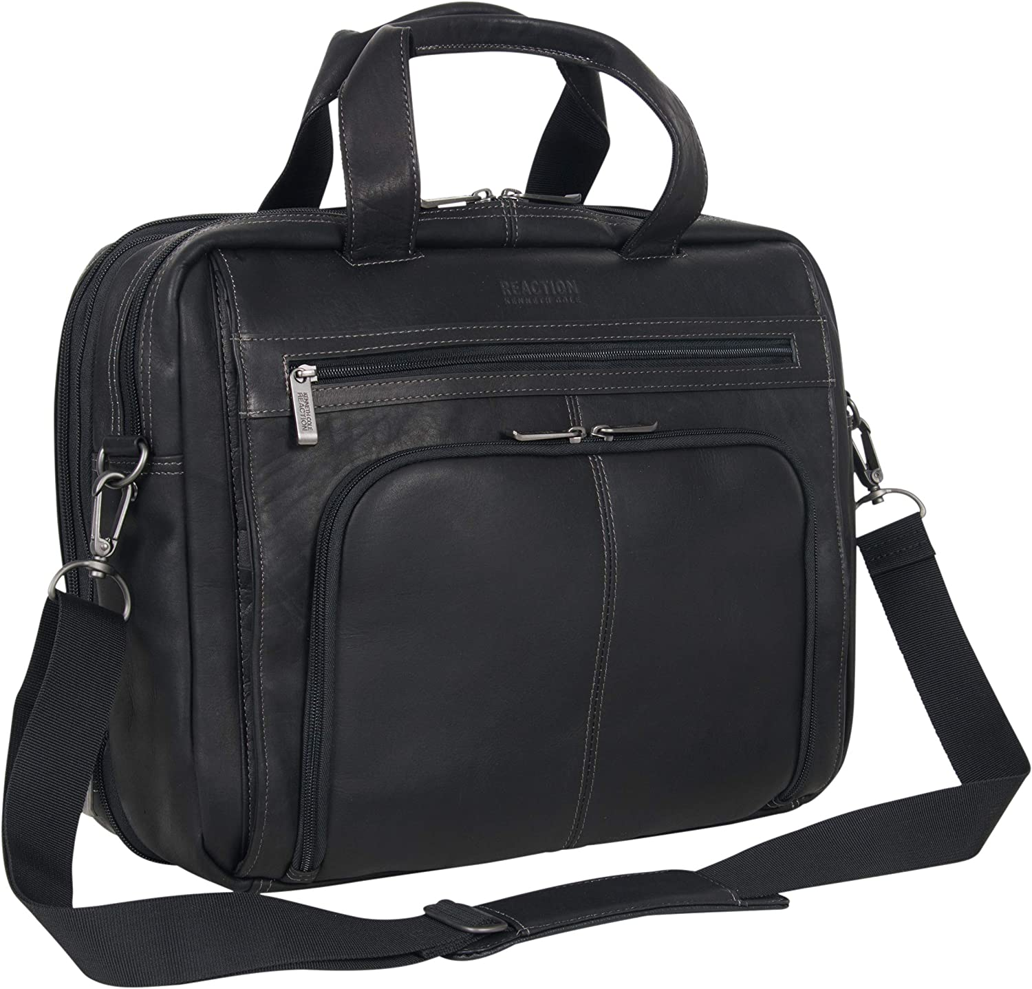 "Kenneth Cole Reaction Colombian Leather Dual Compartment Expandable 15.6"" Laptop Portfolio, Black"