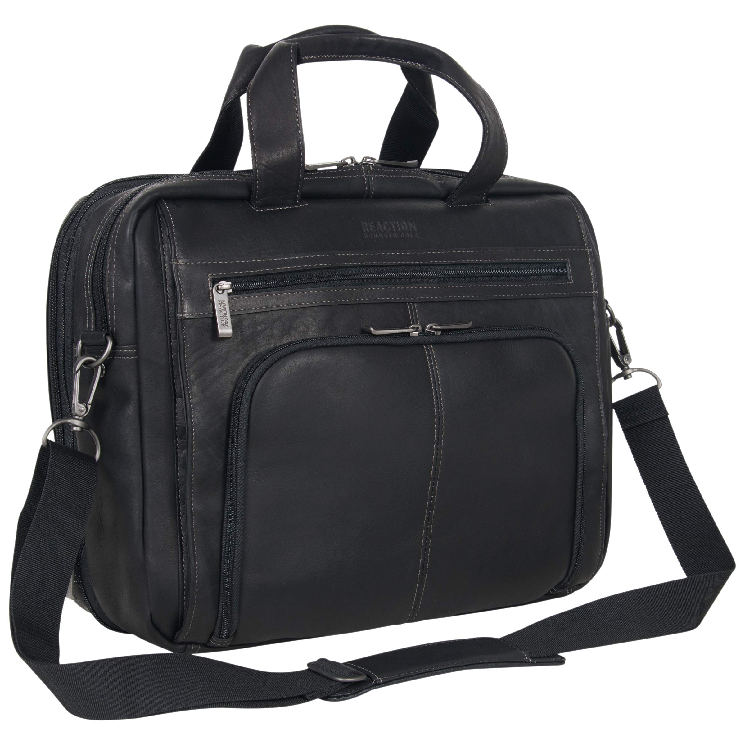 Kenneth Cole Reaction Colombian Leather Dual Compartment Expandable 15.6'' Laptop Portfolio, Black by Kenneth Cole REACTION