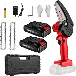 Mini Chainsaw,4 Inch Mini Cordless Battery Powered Electric Chainsaw with 2 Battery and 2 Chains,One-Handed Portable Chainsaw For Garden Pruning and Branch Wood Cutting
