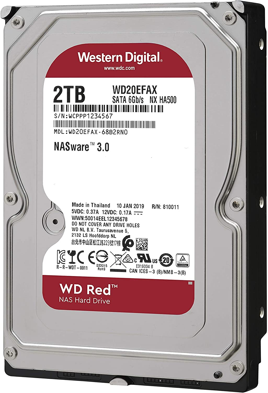 256MB Cache WD20EFAX SATA 6 GB//S 5400 RPM Class FFP Option WD Red 2TB NAS Internal Hard Drive 3.5