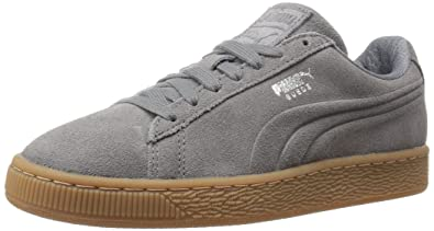 PUMA Men s Suede Classic Debossed q4 Fashion Sneaker Steel Gray-Peacoat 5 M  US ccd52b513