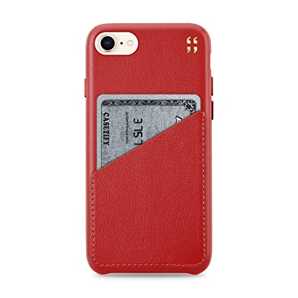 Casetify Handmade Genuine Leather Wallet Case with 1 Card Slot and Raised Lip for iPhone 6 Plus/6s Plus/7 Plus/8 Plus - Cherry