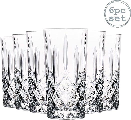 Orquesta Cristal RCR Cut Vaso Alto cóctel Vasos Vasos Set - 396ml - Pack de 6: Amazon.es: Hogar