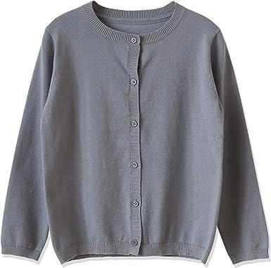 CUNYI Girls Crewneck Lightweight Button-up Cardigan Cotton Knit Sweater Casual Outerwear