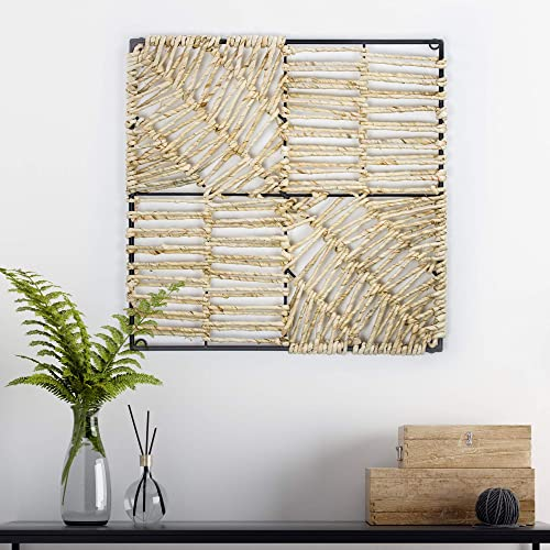 American Art Decor Metal and Natural Woven Corn Husk Wall Decor 18″ x 18″