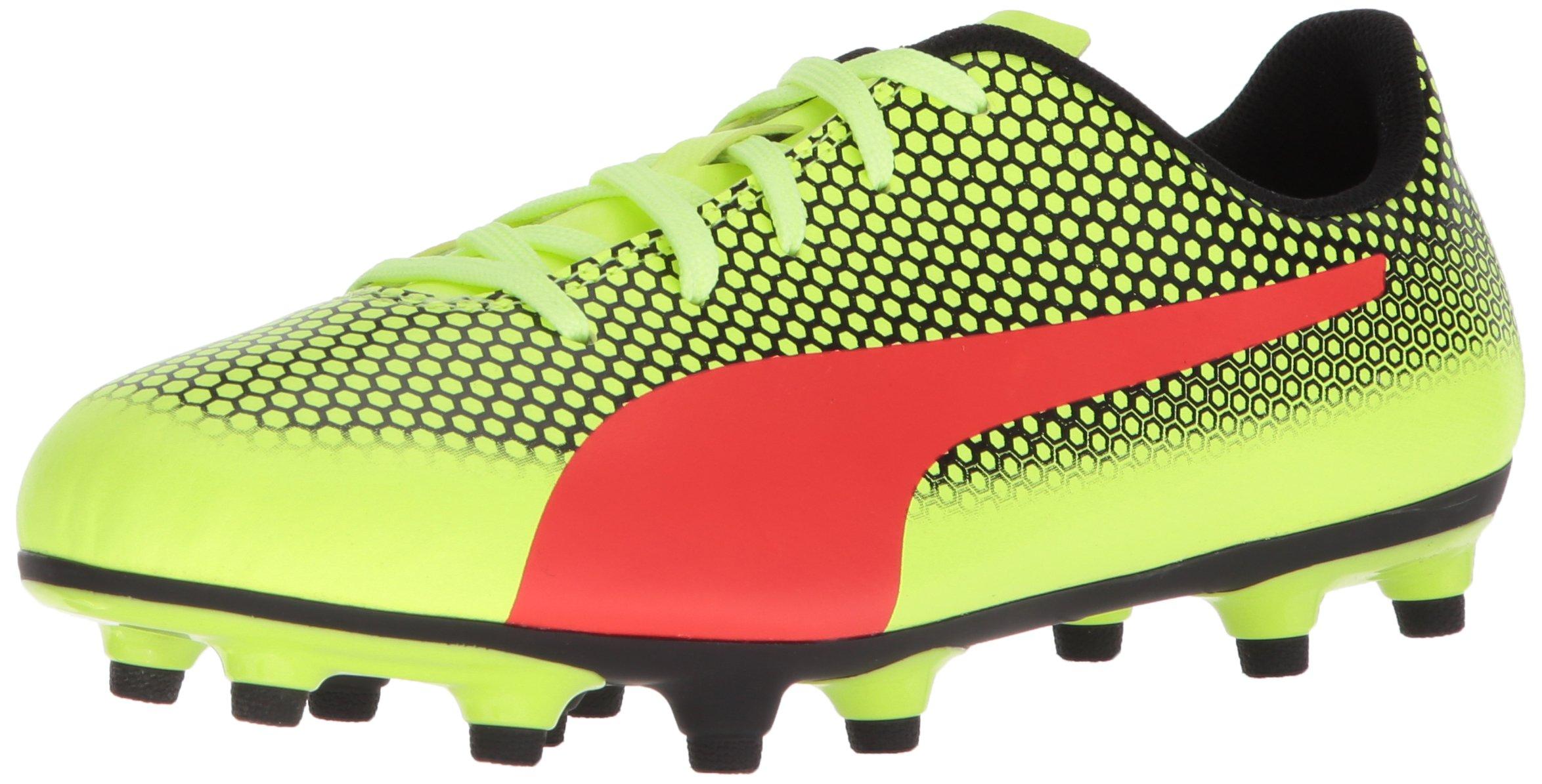 PUMA Unisex-Kids Spirit FG Soccer-Shoes, Fizzy Yellow-Red Blast Black, 5 M US Big Kid