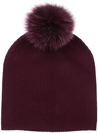 Sofia Cashmere Women s Cashmere Fur Pom Hat-Slouchy 400ef9d0178