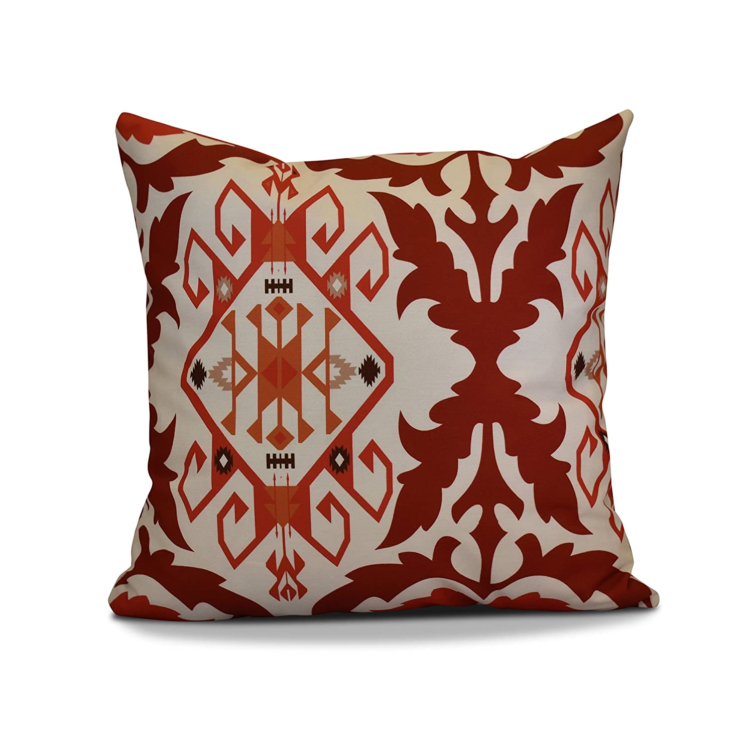 E by design PGN730OR11-20 20 x 20-inch Geometric Print Pillow 20x20 Red Bombay 6