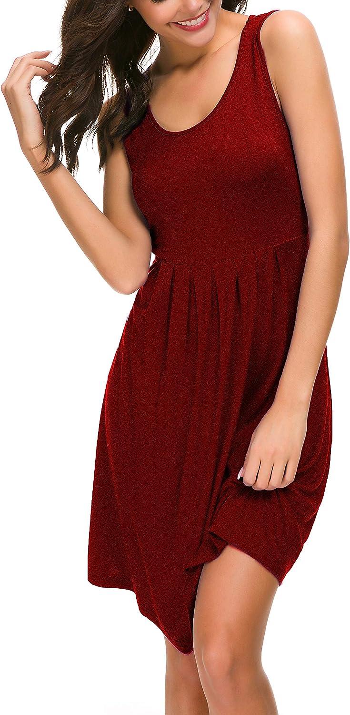 VERABENDI Womens Summer Casual Sleeveless Mini Plain Sundresses Pleated Vest Dresses