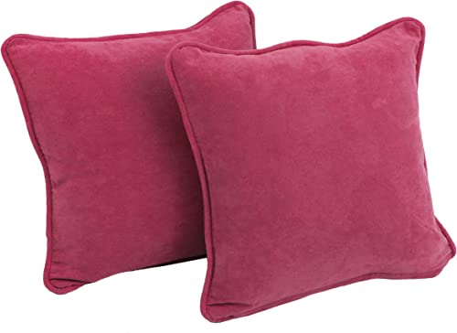 Blazing Needles Solid Microsuede Double-Corded Square Throw Pillows with Inserts Set of 2 , 18 , Berry Berry